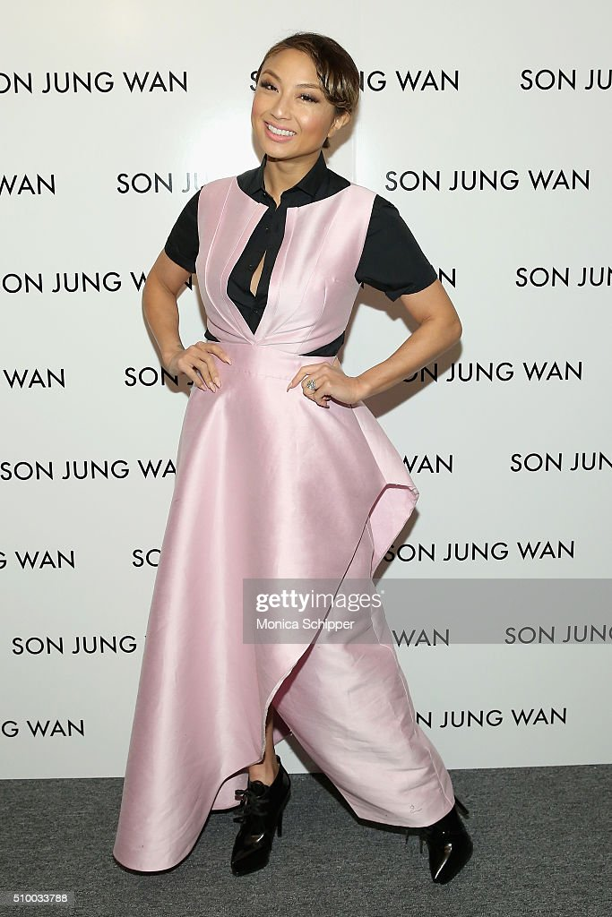 <a gi-track='captionPersonalityLinkClicked' href=/galleries/search?phrase=Jeannie+Mai&family=editorial&specificpeople=5848549 ng-click='$event.stopPropagation()'>Jeannie Mai</a> poses backstage at the Son Jung Wan Fall 2016 fashion show during New York Fashion Week: The Shows at The Dock, Skylight at Moynihan Station on February 13, 2016 in New York City.