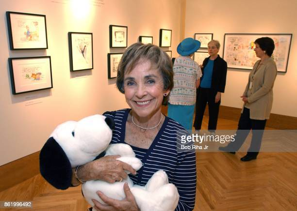Jeannie Schulz Founder and President of the Charles M Schulz Museum and Research Center poses for a portrait with Snoopy inside the Charles M Schulz...