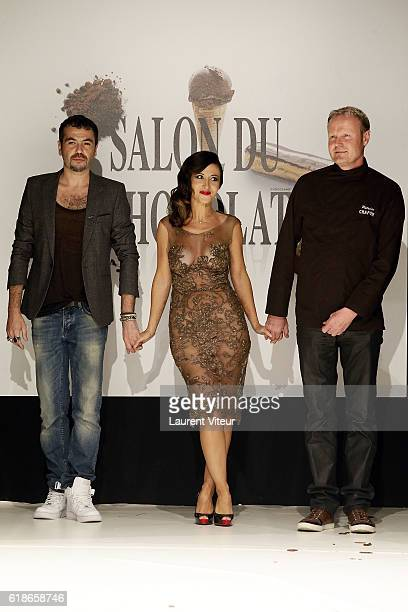 JeanPaul Benielli Fabienne Carat and Patrice Chapon walk the Runway during the Dress Chocolate Show as part of Salon du Chocolat at Parc des...