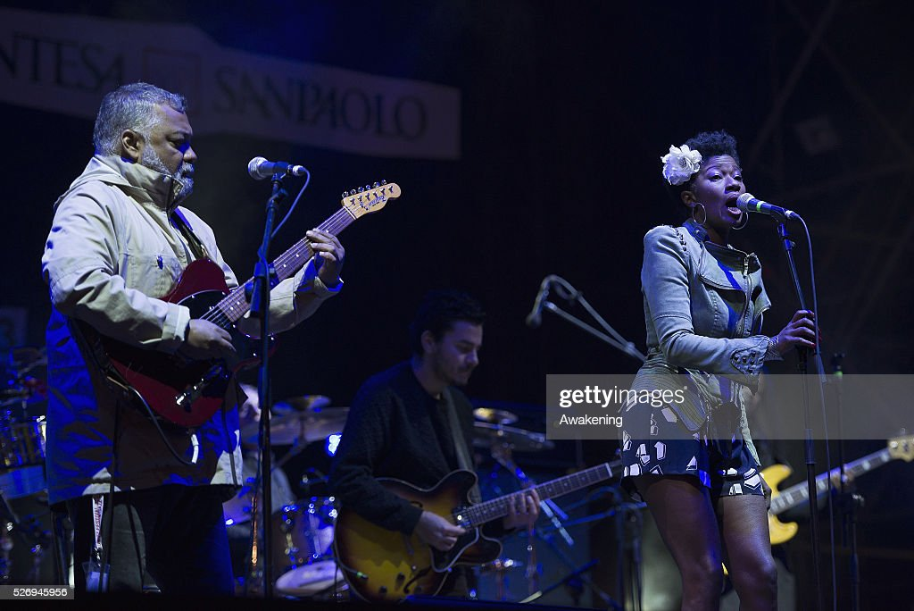 Jean-Paul 'Bluey' Maunick, leader of the band Incognito, performs at the last concert of the Torino Jazz Festival on May 01, 2016 in Turin, Italy.