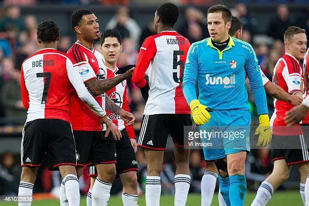 JeanPaul Boetius of Feyenoord Colin Kazim Richards of Feyenoord Terence Kongolo of Feyenoord goalkeeper Marko Meerits of FC Emmen Jens Toornstra of...