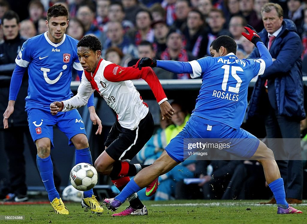 Jean-Paul Boetius of Feyenoord (C), Rosales of FC Twente, Dusan Tadic of FC Twente during the Dutch Eredivise match between Feyenoord and FC Twente at stadium De Kuip on January 27, 2013 in Rotterdam, The Netherlands.