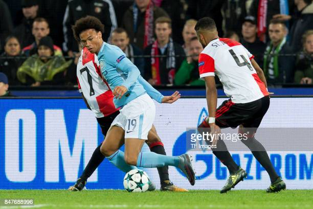JeanPaul Boetius of Rotterdam Leroy Sane of Manchester City and Jeremiah St Juste of Rotterdam battle for the ball during the UEFA Champions League...