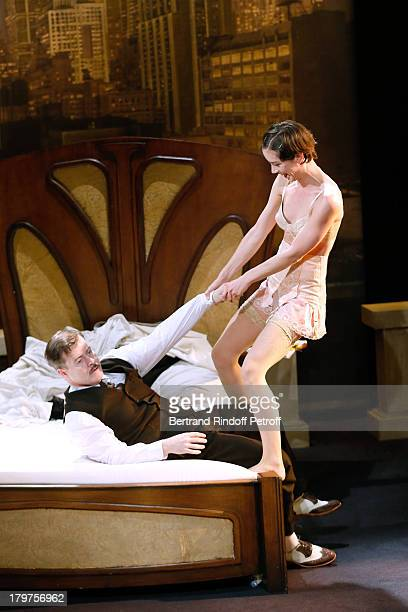 JeanPaul Bordes and Sara Giraudeau perform in 'Zelda Scott' RunThrough at La Bruyere Theater In Paris at Theatre La Bruyere on September 3 2013 in...