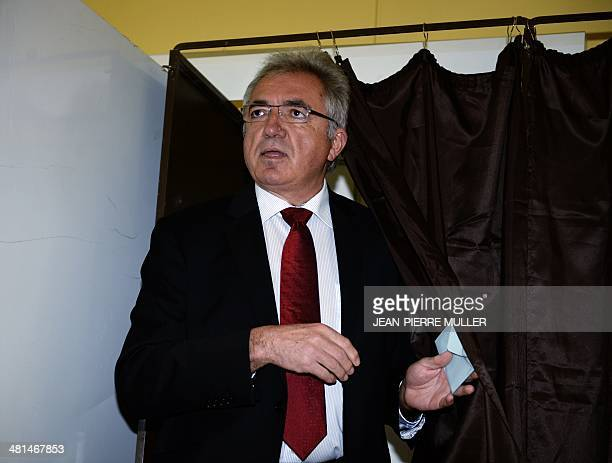 JeanPaul Cobet right wing candidate for the mayoral election in VilleneuvesurLot steps out of a voting booth steps out of a polling booth before...