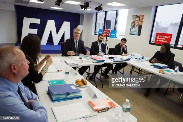 JeanPaul Delevoye head of the Investiture Committee for legislatives elections for the En Marche movement speaks during a meeting of the national...