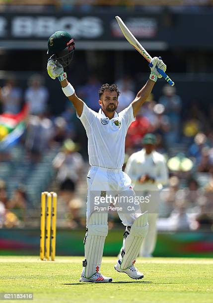 JeanPaul Duminy of South Africa celebrates after reaching his century during day three of the First Test match between Australia and South Africa at...