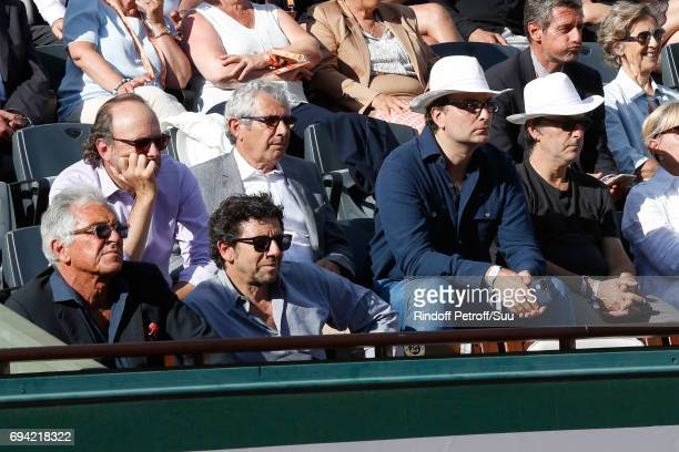 JeanPaul Enthoven Patrick Bruel Michel Boujenah guest and Yvan Attal attend the 2017 French Tennis Open Day Thirteen at Roland Garros on June 9 2017...