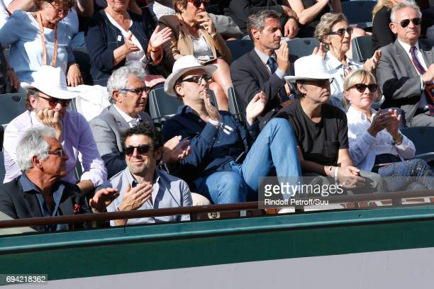 JeanPaul Enthoven Patrick Bruel Michel Boujenah guest Yvan Attal and Brigitte Burke attend the 2017 French Tennis Open Day Thirteen at Roland Garros...