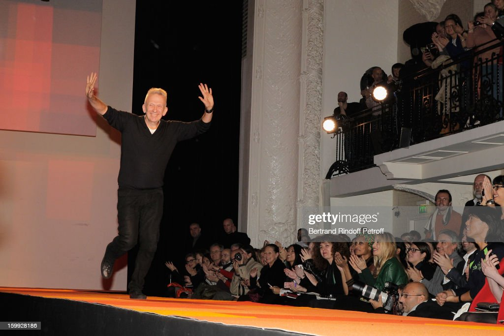 Jean-Paul Gaultier acknowledges applause following his Spring/Summer 2013 Haute-Couture show as part of Paris Fashion Week on January 23, 2013 in Paris, France.