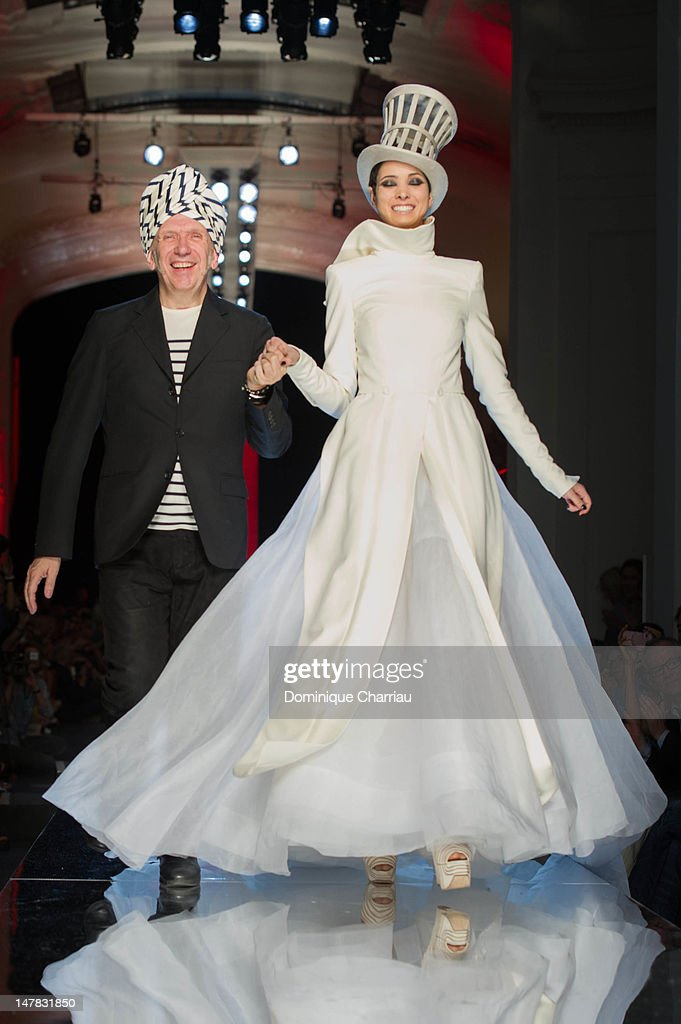 Jean-Paul Gaultier and a model walk the runway during the Jean-Paul Gaultier Haute-Couture Show as part of Paris Fashion Week Fall / Winter 2013 on July 4, 2012 in Paris, France.
