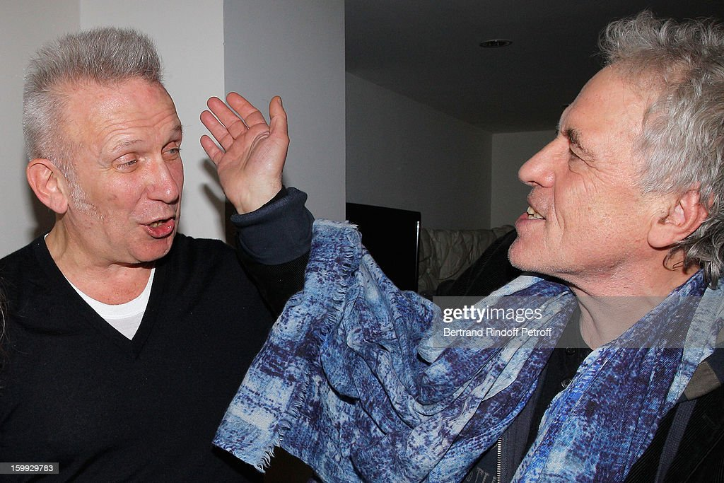 Jean-Paul Gaultier and <a gi-track='captionPersonalityLinkClicked' href=/galleries/search?phrase=Abel+Ferrara&family=editorial&specificpeople=586297 ng-click='$event.stopPropagation()'>Abel Ferrara</a> meet backstage following the Jean-Paul Gaultier Spring/Summer 2013 Haute-Couture show as part of Paris Fashion Week at on January 23, 2013 in Paris, France.