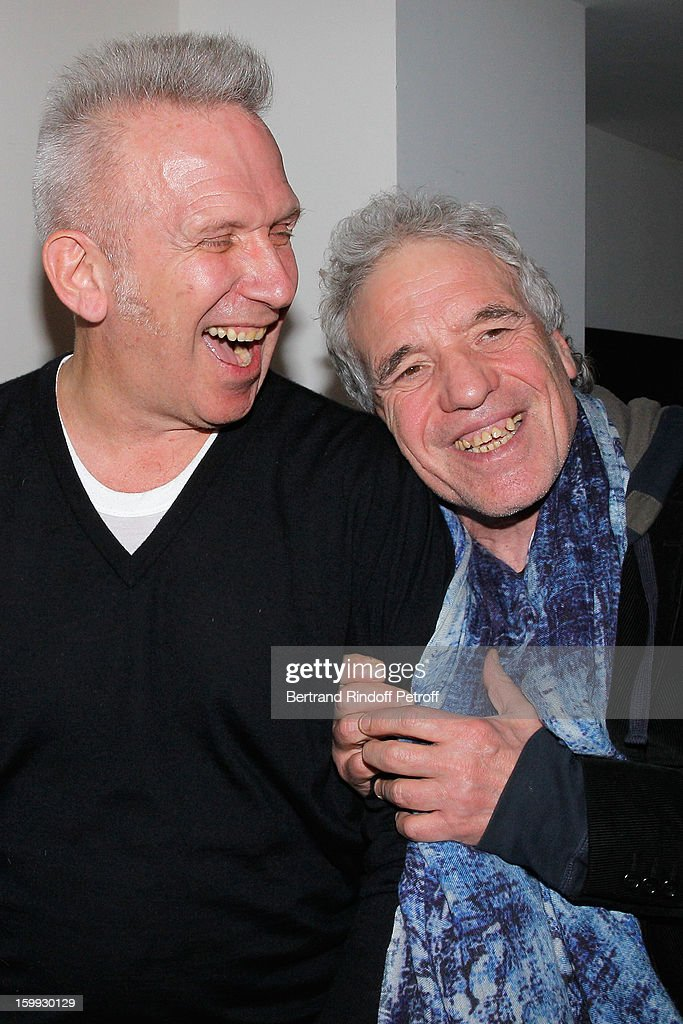 Jean-Paul Gaultier and <a gi-track='captionPersonalityLinkClicked' href=/galleries/search?phrase=Abel+Ferrara&family=editorial&specificpeople=586297 ng-click='$event.stopPropagation()'>Abel Ferrara</a> meet backstage following the Jean-Paul Gaultier Spring/Summer 2013 Haute-Couture show as part of Paris Fashion Week on January 23, 2013 in Paris, France.