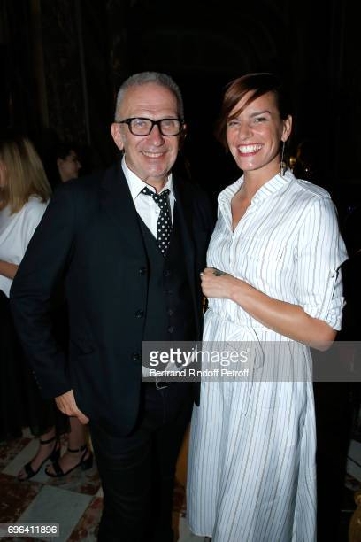 Jeanpaul Gaultier and dancer Fauve Hautot attend the JeanPaul Gaultier 'Scandal' Fragrance Launch at Hotel de Behague on June 15 2017 in Paris France