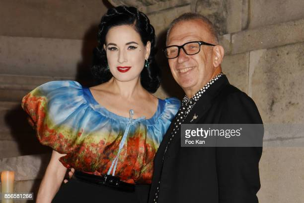 JeanPaul Gaultier and Dita Von Teese attend The Vogue Party Outside Arrivals as part of the Paris Fashion Week Womenswear Spring/Summer 2018 on...