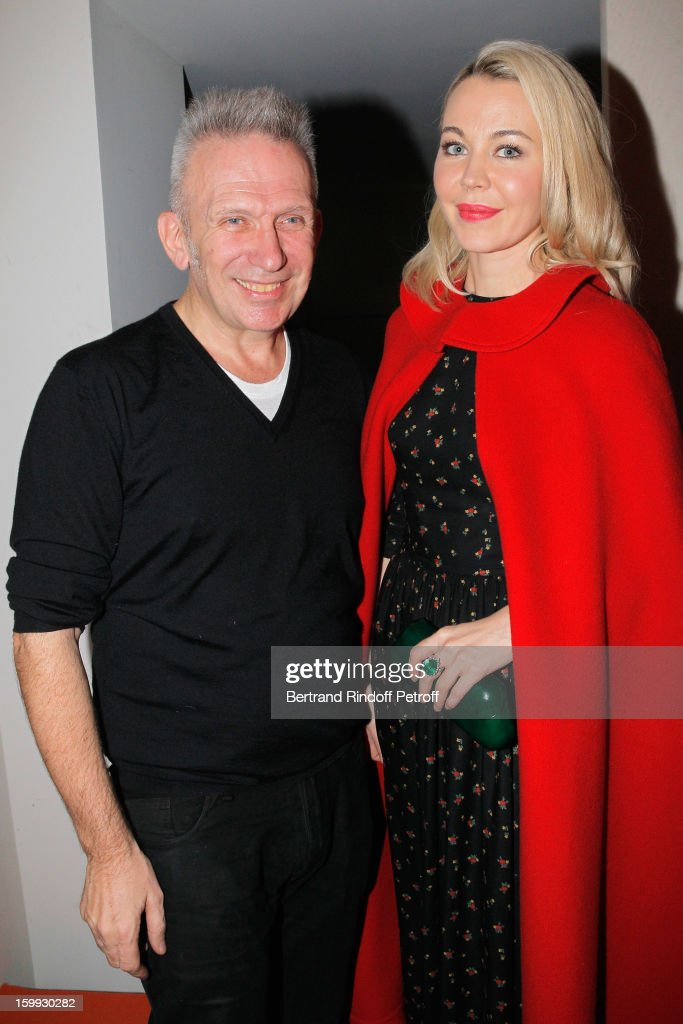 Jean-Paul Gaultier (L) and guest pose backstage following the Jean-Paul Gaultier Spring/Summer 2013 Haute-Couture show as part of Paris Fashion Week on January 23, 2013 in Paris, France.