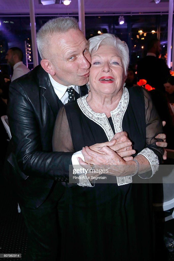 Jean-Paul Gaultier and Line Renaud attend the Sidaction Gala Dinner 2016 as part of Paris Fashion Week. Held at Pavillon d'Armenonville on January 28, 2016 in Paris, France.