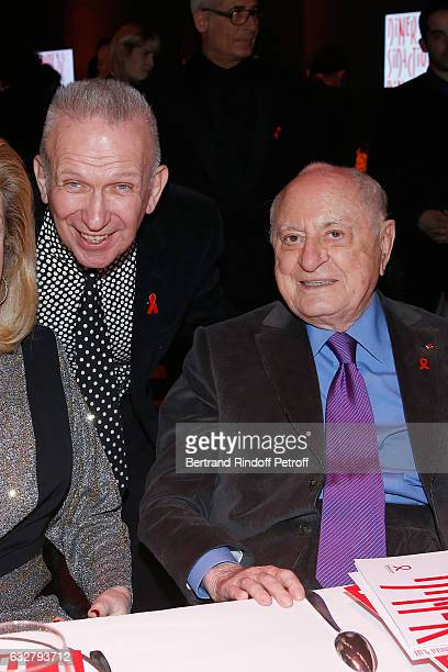 JeanPaul Gaultier and Pierre Berge attend the Sidaction Gala Dinner 2017 Haute Couture Spring Summer 2017 show as part of Paris Fashion Week on...