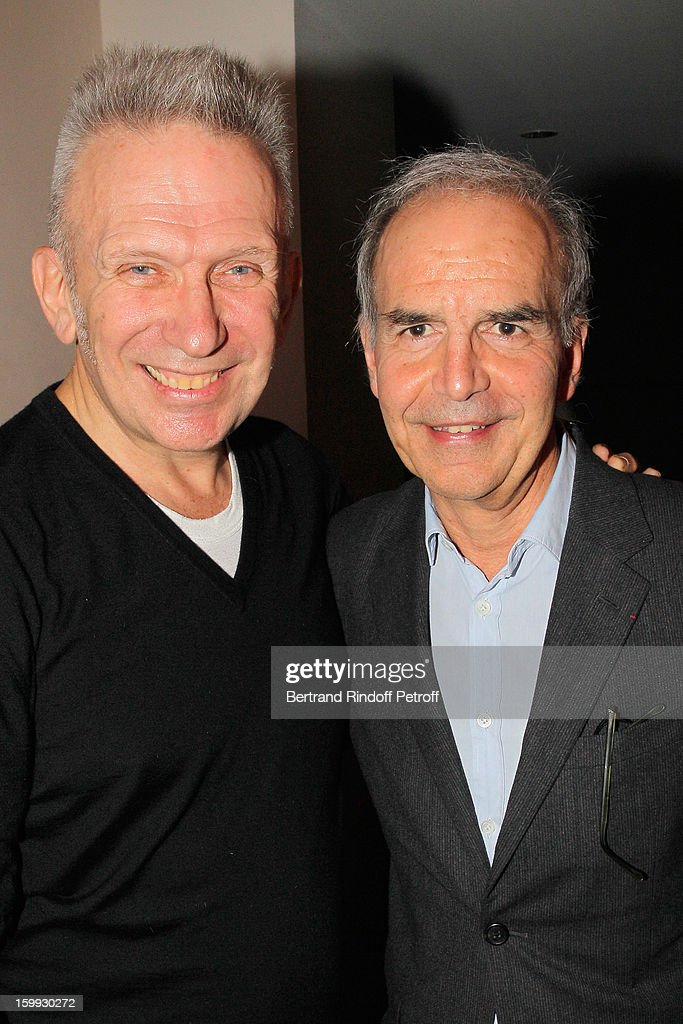 Jean-Paul Gaultier (L) and Ralph Toledano pose backstage following the Jean-Paul Gaultier Spring/Summer 2013 Haute-Couture show as part of Paris Fashion Week on January 23, 2013 in Paris, France.
