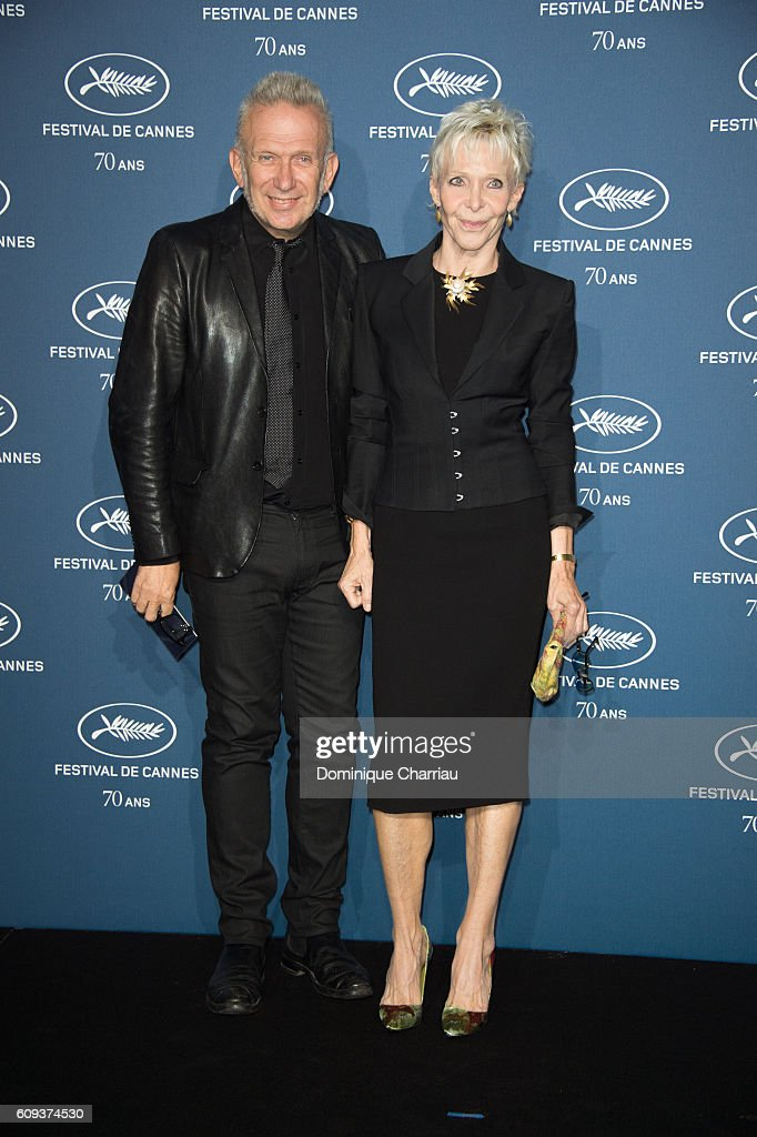 Jean-Paul Gaultier and Tonie Marshall attend the Cannes Film Festival : 70th Anniversary Party at Palais Des Beaux Arts on September 20, 2016 in Paris, France.