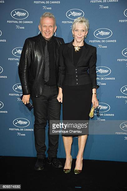 JeanPaul Gaultier and Tonie Marshall attend the Cannes Film Festival 70th Anniversary Party at Palais Des Beaux Arts on September 20 2016 in Paris...
