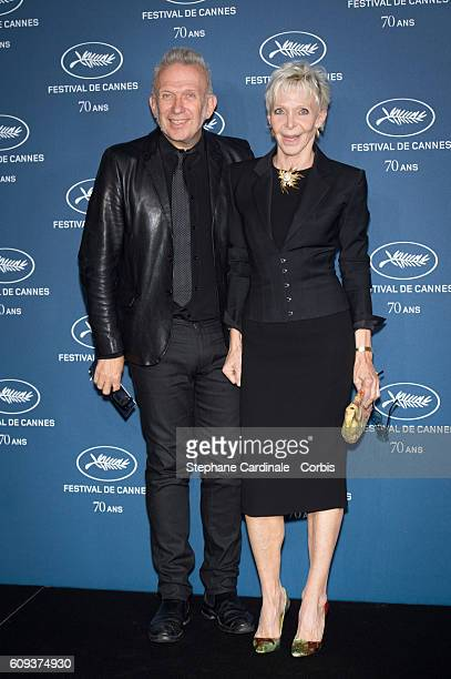 JeanPaul Gaultier and Tonie Marshall attend the 'Cannes Film Festival 70th Anniversary Party' at Palais Des Beaux Arts on September 20 2016 in Paris...
