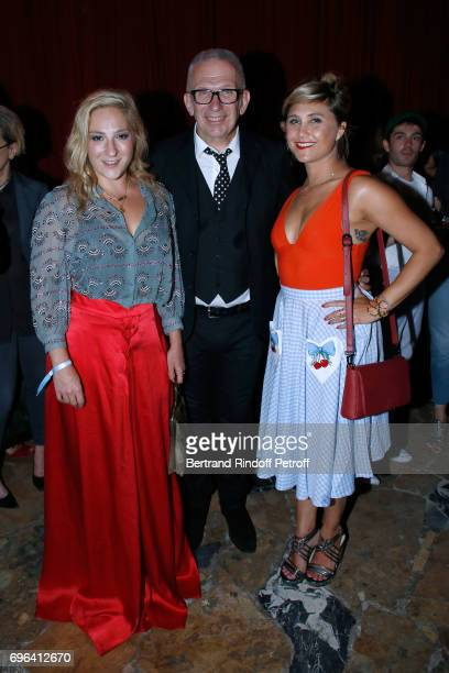Jeanpaul Gaultier standing between actress Marilou Berry and humorist Berengere Krief attend the JeanPaul Gaultier 'Scandal' Fragrance Launch at...