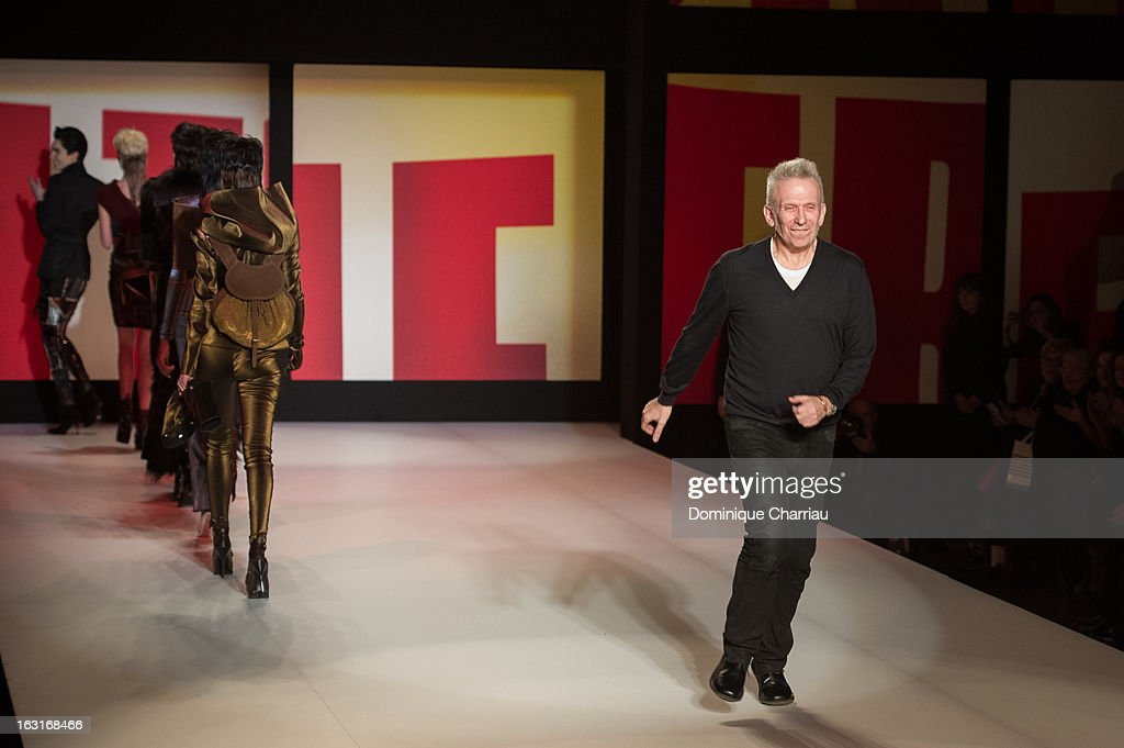 Jean-Paul Gaultier walks the runway during the Jean Paul Gaultier Fall/Winter 2013 Ready-to-Wear show as part of Paris Fashion Week on March 2, 2013 in Paris, France.