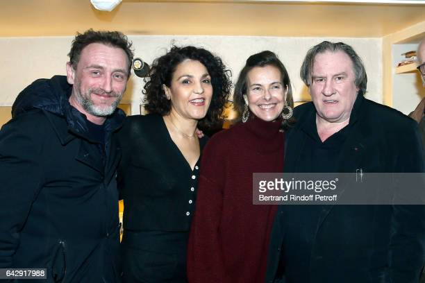 JeanPaul Rouve Farida Rahouadj Carole Bouquet and Gerard Depardieu pose Backstage after Gerard Depardieu sings Barbara accompanied on the piano of...