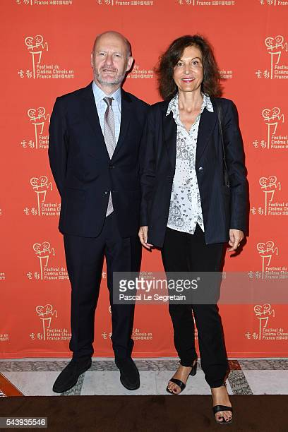 JeanPaul Salome and anne Fontaine arrive at the 6th Chinese Film Festival Cocktail at Hotel Meurice on June 30 2016 in Paris France