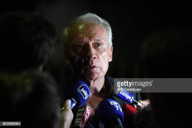 JeanPaul Teissonniere Murielle Bolle's lawyer speaks to the press outside the Gendarmerie in SaintEtienneLesRemiremont eastern France on June 28...