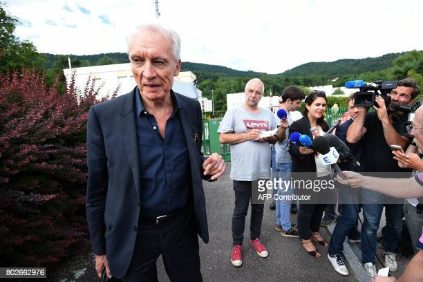 JeanPaul Teissonniere Murielle Bolle's lawyer stands next to the press outside the Gendarmerie in SaintEtienneLesRemiremont eastern France on June 28...