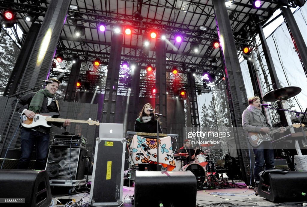 Jean-Philip Grobler (R) and St. Lucia perform during the Snowglobe Music Festival at Lake Tahoe Community College on December 30, 2012 in South Lake Tahoe, CA.