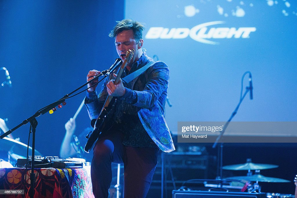 Jean-Philip Grobler of St. Lucia performs on stage during the Sasquatch Launch Party at Neptune Theatre on February 3, 2014 in Seattle, Washington.