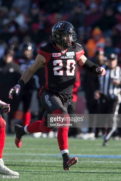 JeanPhilippe Bolduc of the Ottawa Redblacks plays on special teams against the Saskatchewan Roughriders in Canadian Football League play during the...