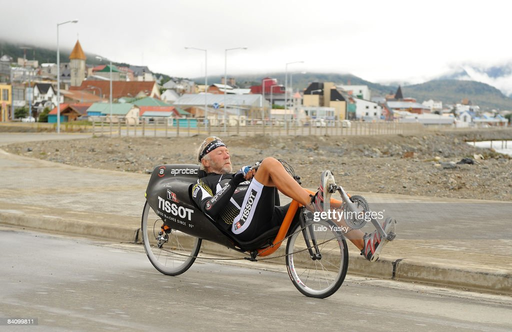 Jean-Philippe Patthey rides his bike in Ushuaia at the end of Tissot Transamerica Expedition, on December 20, 2008 in Ushuaia, Argentina. Patthey, the world-known adventurer, performed an approximately 15, 500 miles ride on his bike traveling from North America to South America.