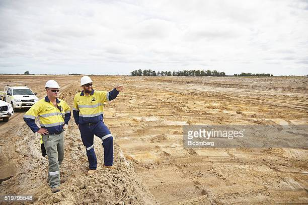 JeanPierre Adams mine engineer left and Ben Appleton maintenance supervisor oversee mining operations in an arranged photograph at the MZI Resources...