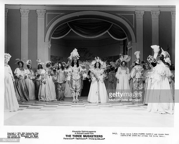 JeanPierre Cassel and Geraldine Chaplin attend the royal ball in a scene from the movie 'The Three Musketeers' circa 1974