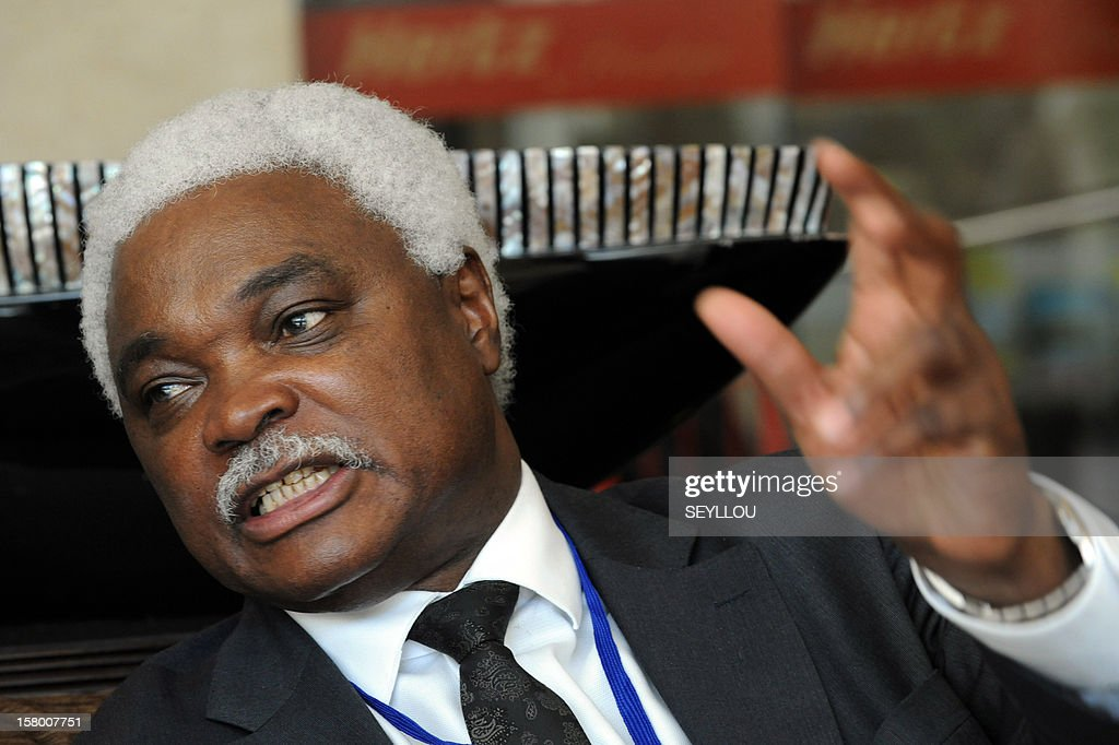 Jean-Pierre Elong Mbassi, secretary-general of the ''Local United African Cities and Governments'' (CGLUA) speaks during an interview as local representatives gathered during the sixth edition of Africities, on December 8, 2012 in Dakar. Local authorities called for a dialogue with Islamist armed groups in Northern Mali to avoid ''casualties'', according to the organizers of the event.
