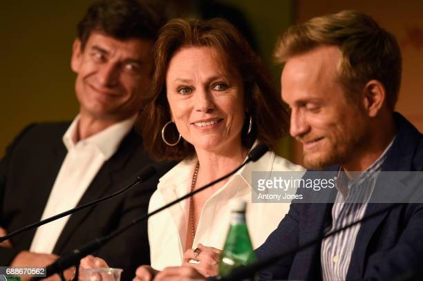 JeanPierre Lavoignat actress Jacqueline Bisset and actor Jeremie Renier attends the 'Amant Double ' Press Conferenceduring the 70th annual Cannes...