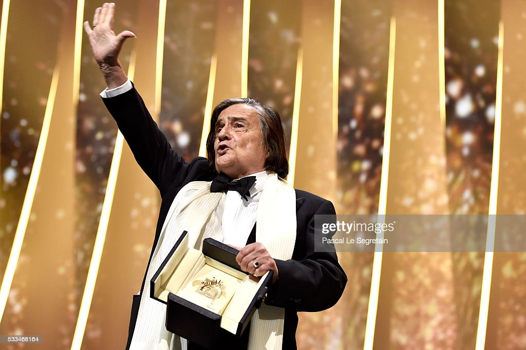 JeanPierre Leaud gestures on stage after being awarded the honourary Palme d'Or during the closing ceremony of the annual 69th Cannes Film Festival...