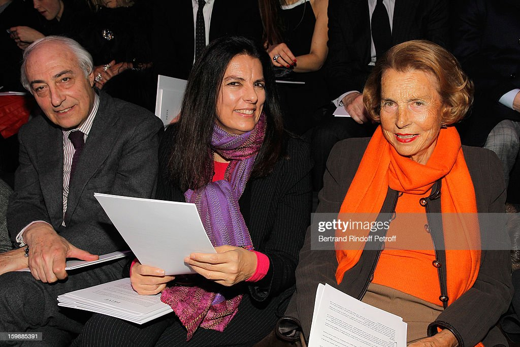 Jean-Pierre Meyers, his wife Francoise Bettencourt Meyers, and Francoise's mother, <a gi-track='captionPersonalityLinkClicked' href=/galleries/search?phrase=Liliane+Bettencourt&family=editorial&specificpeople=2343695 ng-click='$event.stopPropagation()'>Liliane Bettencourt</a>, attend the Giorgio Armani Prive Spring/Summer 2013 Haute-Couture show as part of Paris Fashion Week at Theatre National de Chaillot on January 22, 2013 in Paris, France.