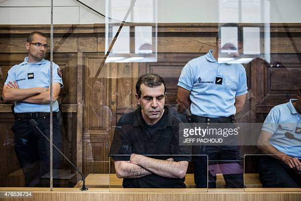 JeanPierre Mura the alleged killer of Christelle Maillery waits with his eyes closed in the courtroom of ChalonsurSaone before the start of his trial...
