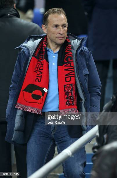 JeanPierre Papin attends the French Cup Final between Stade Rennais FC and EA Guingamp at Stade de France on May 3 2014 in SaintDenis near Paris...
