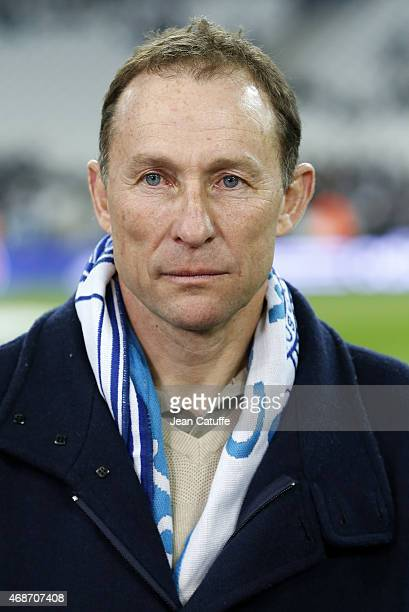 JeanPierre Papin attends the French Ligue 1 match between Olympique de Marseille and Paris SaintGermain at New Stade Velodrome on April 5 2015 in...