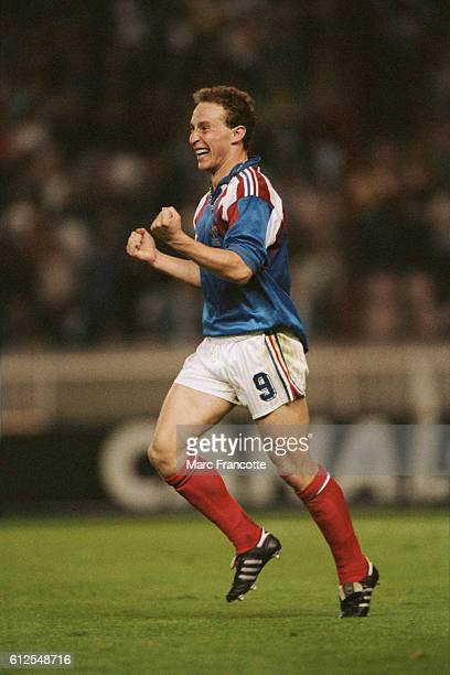 JeanPierre Papin celebrates scoring a goal for France during a game against Czechoslovakia