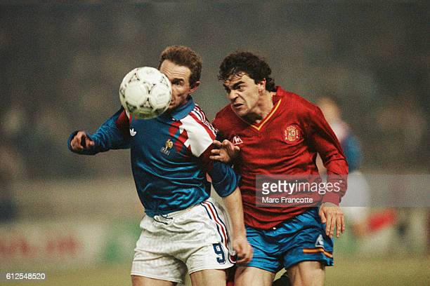 JeanPierre Papin from France during a game against Spain