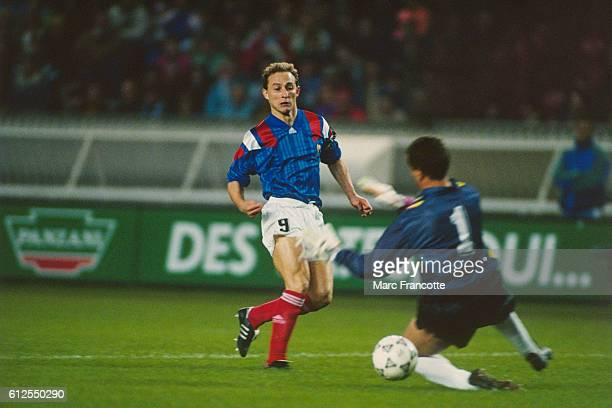 JeanPierre Papin from France scoring a goal against Austria