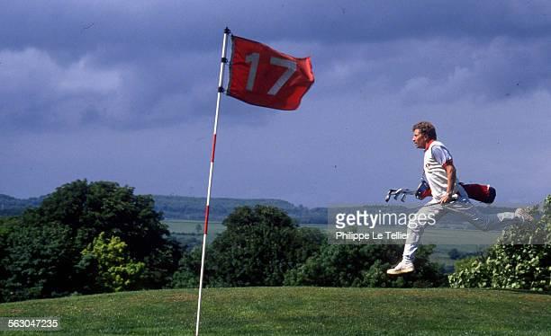JeanPierre Papin OM football goalkeeper plays golf in France 1980