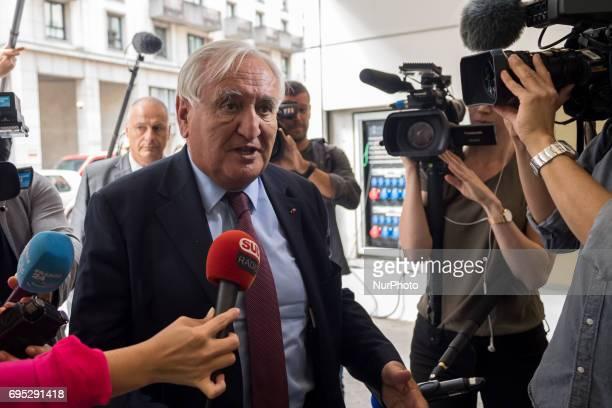 JeanPierre Rafarin holds a speech as she leaves LR party's headquarters in Paris on 12 June 2017